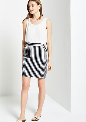 Sporty business skirt in a striped look from s.Oliver