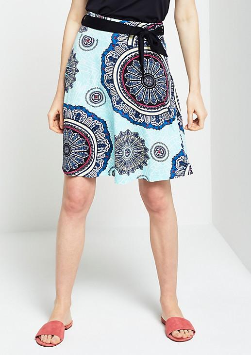 Jerseyrock mit farbenfrohem Ornamentikprint