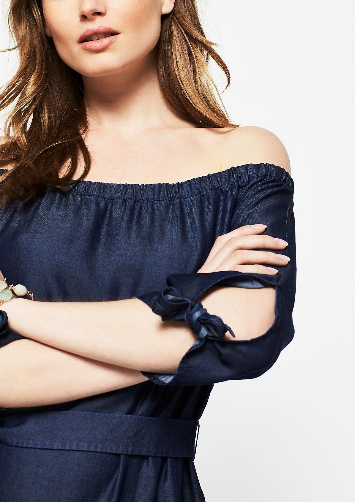 Schulterfreies Kurzarmkleid in Jeansoptik