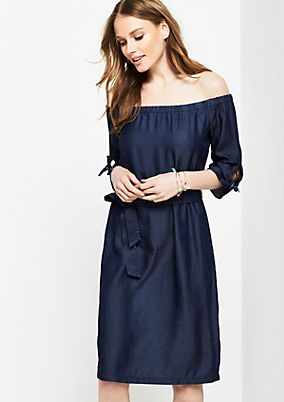 Off-the-shoulder short sleeve dress in a denim look from s.Oliver