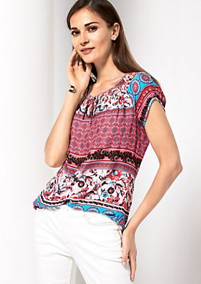 Lightweight short sleeve blouse with a mixed pattern from s.Oliver