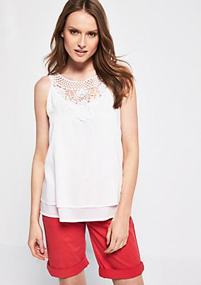 Elegant blouse top with decorative lace from s.Oliver