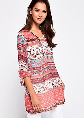 Crêpe tunic with an attractive mix of patterns and 3/4-length sleeves from s.Oliver