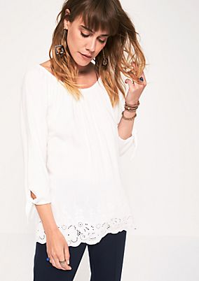 3/4-sleeve blouse with delicate lace from s.Oliver