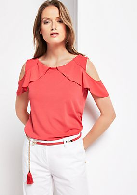 Elegant short sleeve top with sophisticated details from s.Oliver
