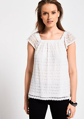 Short sleeve top in delicate lace from s.Oliver