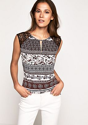 Short sleeve top with delicate lace decorations from s.Oliver