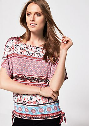 Short sleeve jersey top in a sophisticated mixed pattern from s.Oliver