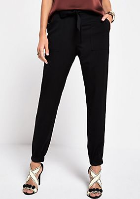 Elegant business trousers with a fabric belt from s.Oliver