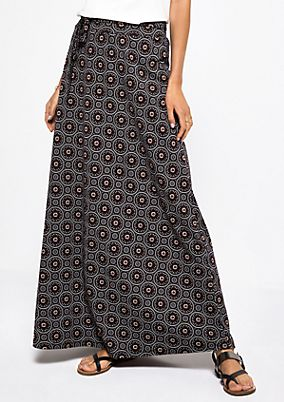 Jersey maxi skirt with a beautiful all-over pattern from s.Oliver