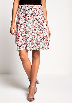 Short crêpe skirt in a tiered look from s.Oliver