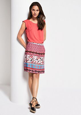 Short summer skirt with a decorative pattern from s.Oliver