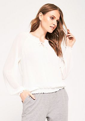Delicate crêpe blouse with long sleeves from comma