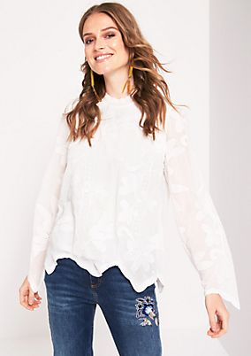 Long sleeve blouse with a decorative tonal pattern from s.Oliver