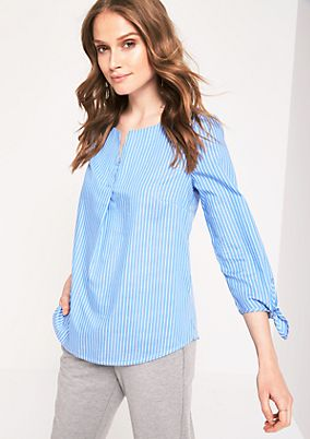 Blouse with 3/4-length sleeves and classic vertical stripes from s.Oliver