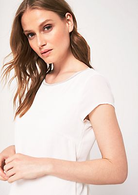 Delicate mixed fabric top with short sleeves from s.Oliver