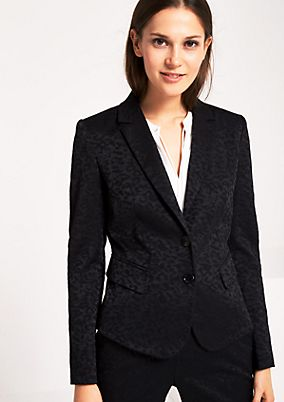 Business blazer with a tonal leopard print pattern from s.Oliver