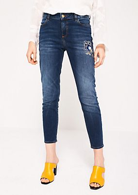 Skinny jeans with decorative floral embroidery from s.Oliver