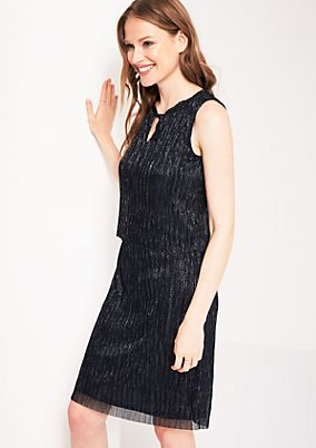 Pleated evening dress with a glitter finish from s.Oliver