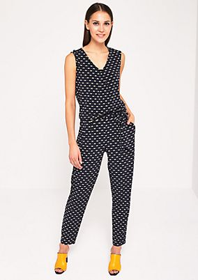 Fine jersey jumpsuit with a belt from comma