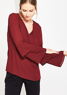 Delicate crêpe blouse with trumpet sleeves from s.Oliver
