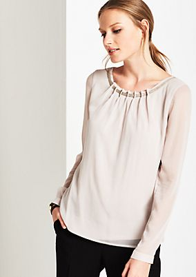 Delicate chiffon blouse with decorative pleats from s.Oliver