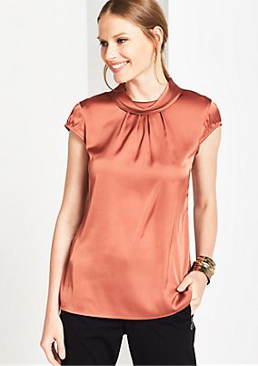 Satin short sleeve blouse with a matte sheen from comma