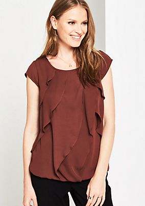 Lightweight short sleeve blouse with flounces from comma