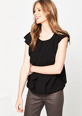 Lightweight short sleeve blouse with flounces from s.Oliver
