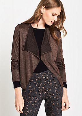 Long sleeve cardigan in glittery effect yarn from comma