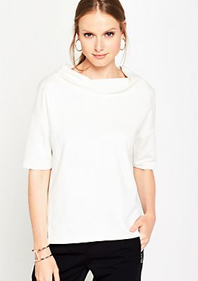 Short sleeve sweatshirt with a waterfall neckline from s.Oliver