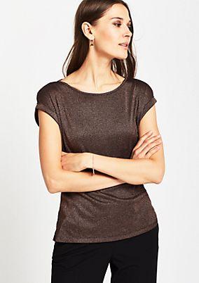 Kurzarm-Strickshirt aus glitzernden Effektgarnen