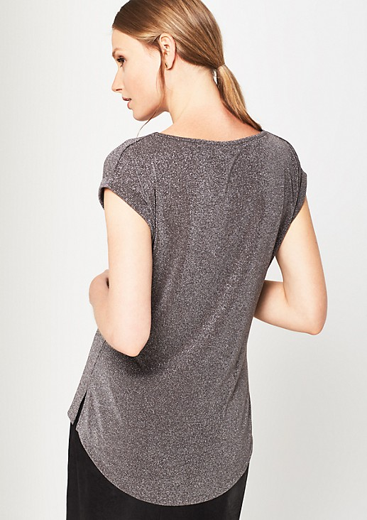 Short sleeve knit top in glittery effect yarn from s.Oliver