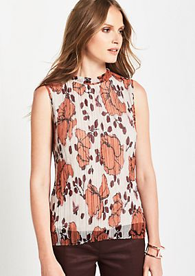 Pleated mesh top with an all-over pattern from s.Oliver