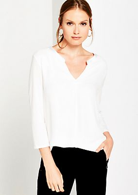 Summery blouse in a mix of materials with 3/4-length sleeves from comma