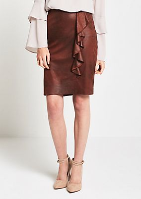 Soft faux leather skirt with a flounce from s.Oliver