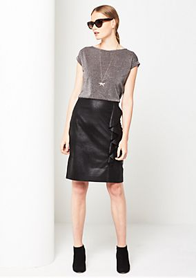 Soft faux leather skirt with a flounce from comma