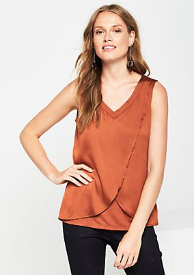 Jersey top in a sophisticated wrap-over look from comma
