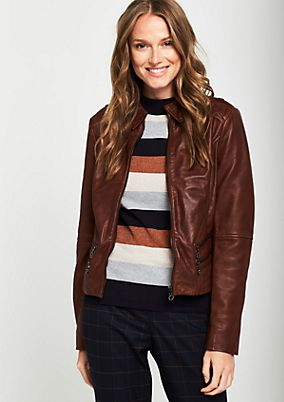 Soft genuine leather jacket in a biker look from comma
