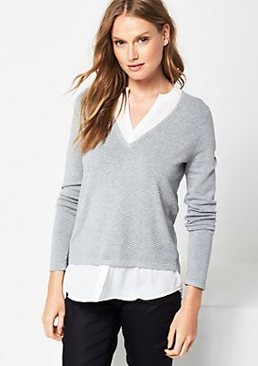 Knit jumper with integrated blouse elements from s.Oliver