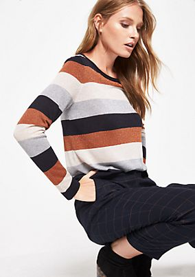 Knitted jumper in effect yarn in a striped look from comma