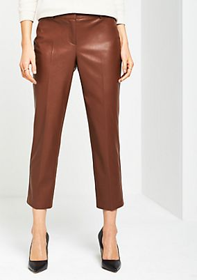 7/8-length business trousers in shiny faux leather from comma