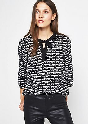 3/4-sleeve blouse with a fine all-over pattern from comma