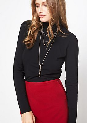 Jersey long sleeve jersey top with a stand-up collar from comma
