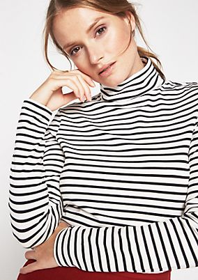 Lightweight jersey long sleeve top with a polo neck from comma