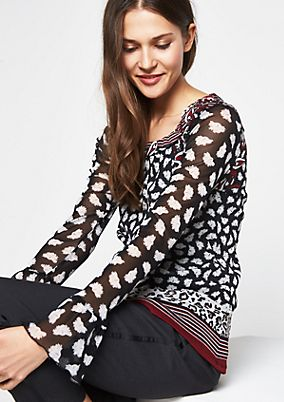 Delicate long sleeve mesh top with a decorative all-over pattern from comma