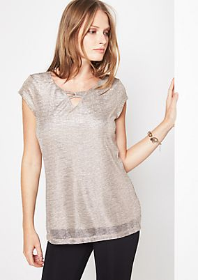 Delicate short sleeve T-shirt made of effect yarn from comma