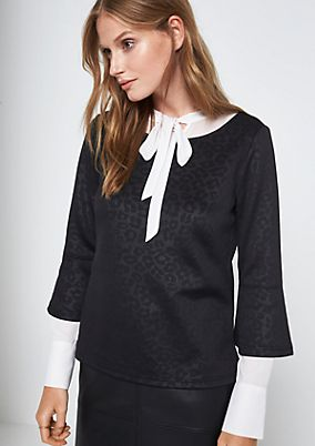 3/4-Arm Shirt mit aufregendem Ton-in-Ton Muster