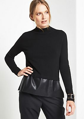 Knit jumper with faux leather trim from comma