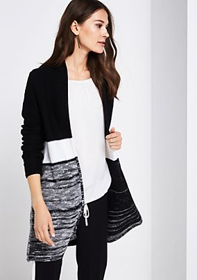 Long cardigan with colour blocks from comma